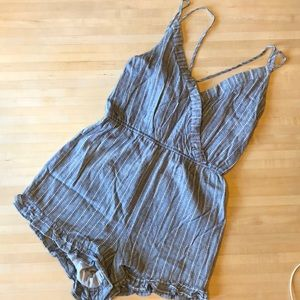 The cutest blue and white romper